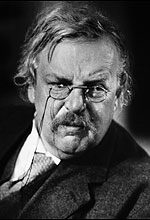 In every picture ever taken of G.K. Chesterton, he looks distinctly grumpy. I think it's because he wasn't eating cheese, or someone had just handed him a biscuit with cheese on it. Or maybe because we weren't friends.